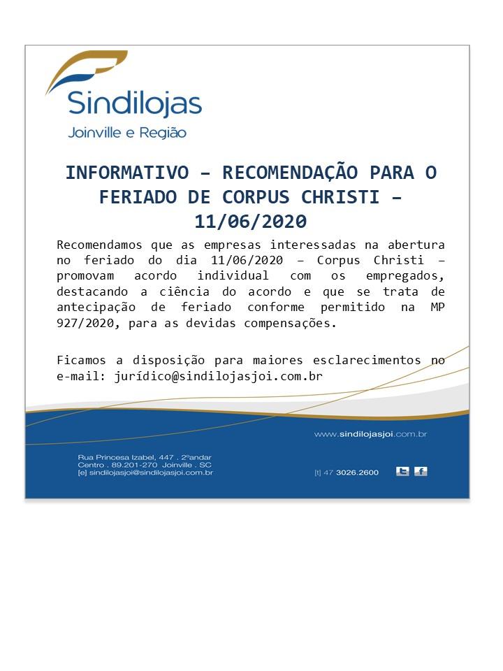 Informativo - Feriado 11/06/2020